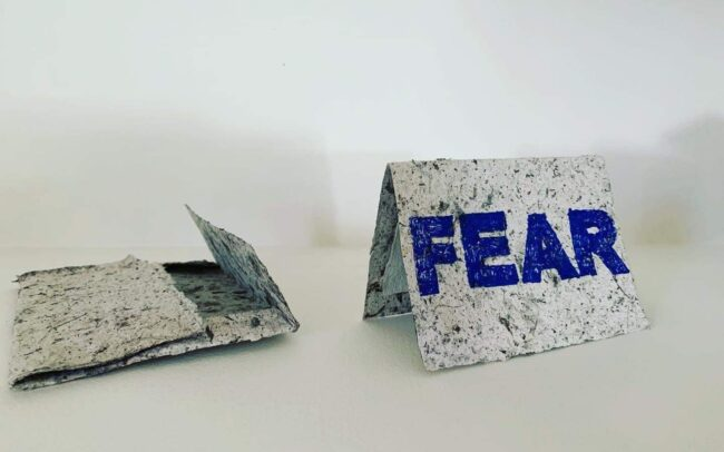 'Fear' Botanical paper car and envelope. 'From the Ground Up' series. 2020